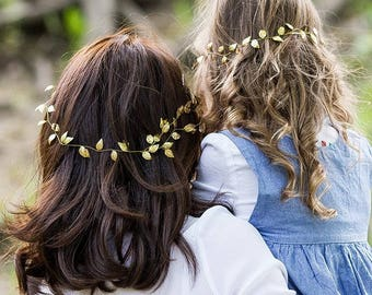 Gold leaf headpiece Belle hair vine Beauty beast hair piece Mommy and daughter gift Grecian halo Mommy and Me Greek bridal crown leaves gold