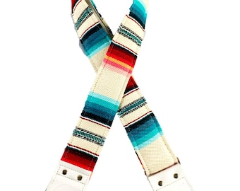 Cream and Blue Saddle Blanket Fabric Guitar Strap