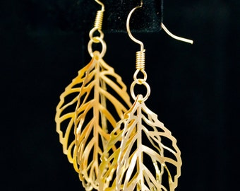 Gold Leaf Filigree Earrings