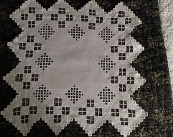 Vintage Hardanger Doily Table White Linen Embroidery  Center Piece As Is