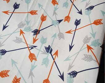 Random Arrow Contour Changing Pad Cover - Arrows, Orange, Mint, Navy, Woodland