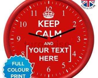 Personalised Keep Calm & Carry On Red Wall Clock   Round