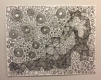 Abstract ink drawing | abstract drawing | abstract art | wall art | fine art | pen and ink | white paper | 22x28 inches | large
