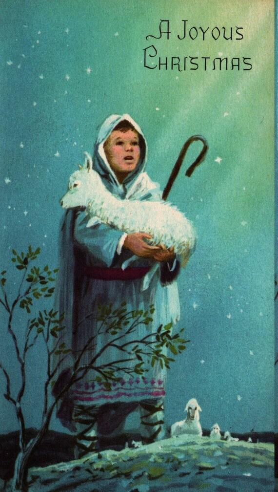 A Joyous Christmas + Shepherd with Sheep + Vintage Christmas Card