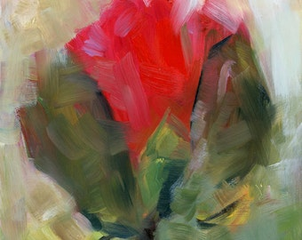"""Rosebud Painting, Expressionistic, Floral art, Original Oil Painting, 6 x 6"""""""