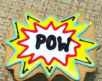 Comic Cookies, Fight Bubble Cookies, Superhero Cookies, POW! cookies