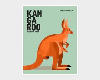 KANGAROO, Wildlife of Australia, Nursery Animal Wall Art Print, Kids Educational Poster Print, Retro Vintage Minimalist Animal Illustration