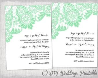 Wedding invitation template Antique Lace DIY