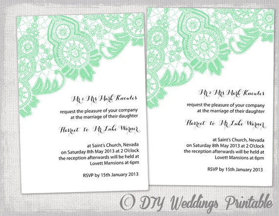 DIY Wedding Invitation Template Editable Mint Green