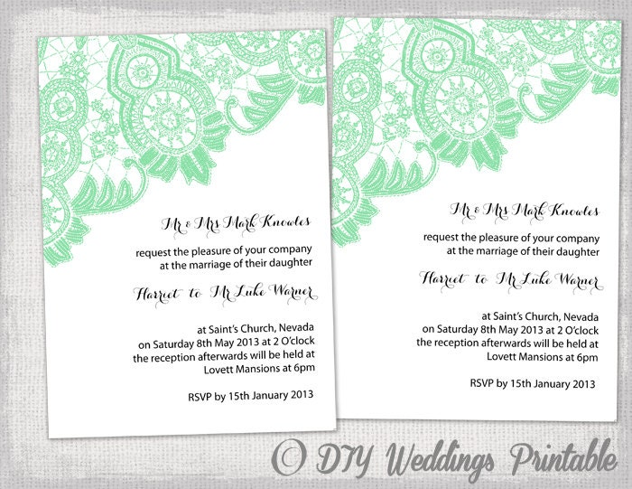 DIY Wedding Invitation Template Editable Mint Green - Wedding invitation templates: editable wedding invitation templates