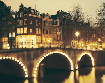 "Amsterdam Print, Large Wall Art, Travel Photography, Canal Lights, Black and Gold Art Print, Fine Art Photography ""Night Bridge"""