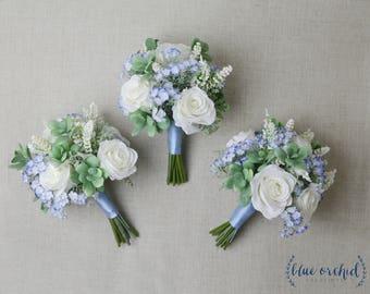 Bridesmaid Bouquet, Succulent Bouquet, Wedding Bouquet, Light Blue, White, Green, Silk Flower Bouquet, Silk Wedding Flowers, Faux Bouquets