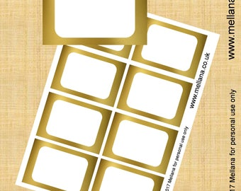 Food Labels - Gold Foil - Blank Food Labels Party Printables - Name tags - Instant Download Favor Tags-GFL