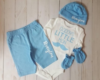 Baby Boy, CHOOSE SIZE, Newborn Take Home Outfit, Pants, Monogram Beanie Hat, Mittens, Hospital Photo, Little Brother,  Daddy's Little Man