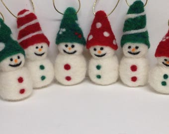 Wool Needle Felted Snowman