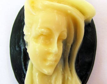 1 Windblown Hair Lady Oval Black Off White Resin Cameo Cabochon 40X30 mm