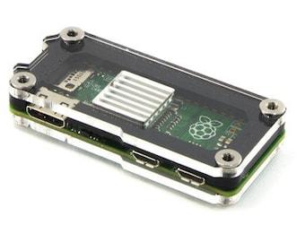 Zebra Zero Raspberry Pi Zero Case Original and Zero Wireless~ Black Ice with Heatsink