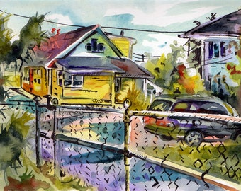 Painting of Suburban New Jersey - Original Watercolor and Ink on Paper - Please Take Me To Suburbia