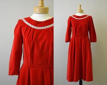 1950s Red Velveteen Dress