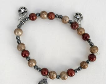 Bronze and Gold Pendant Bracelet