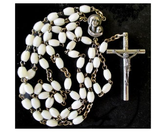 Rosary Beads * Catholic Prayer Beads * White Beads * Italy