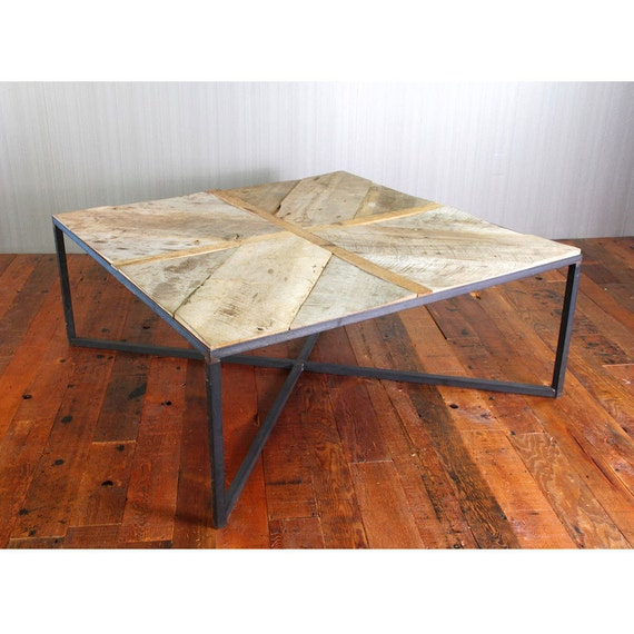 Contemporary Coffee Table Bases: Items Similar To Modern Reclaimed Wood Coffee Table With