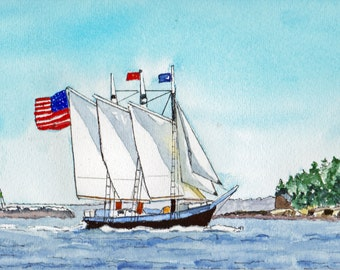 SailBoat Windjamer Camden Maine  Marine Watercolor-Seascape-Wedding-Man Gift-Art Collector-Original-Boyfriend Gift-Bar Harbor-Camden-Ocean