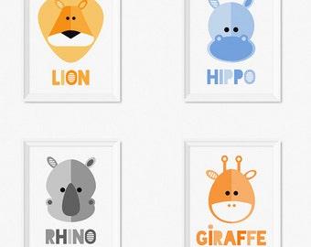 Safari animaux pépinière estampes, enfants Art estampes, Art numérique chambre d'enfant, Baby Art estampes, pépinière imprimés, imprimables enfants Art, ensemble de chambre d'enfant