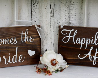 REVERSIBLE Here comes the Bride / Happily Ever After  5 1/2 x 11  Rustic Wedding Signs