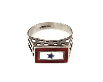 Sterling Enamel Military Son in Service Ring - Sweetheart Jewelry, Military Mother, Patriotic Jewelry, WW2 Ring, Vintage Ring, Size 7