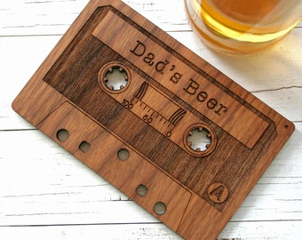 Cassette Tape Coaster - Retro Drinks Coaster - personalised wooden coaster - gift for Dads - Valentine's gift - oak coaster - musical gift -