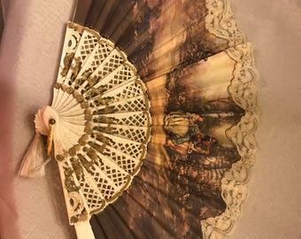 Vintage Celluloid Canvas Lace Hand Fan
