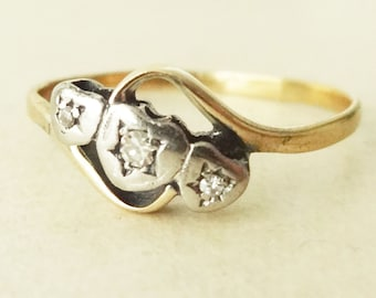 Art Deco Triple Heart Diamond Ring, 18 Carat Gold Diamond Trilogy Engagement Ring, Approx Size US 9