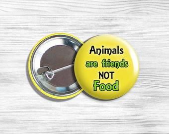 "Vegan Vegetarian ""Animals Are Friends Not Food"" Pinback Button Pin 1.75"" Yellow"