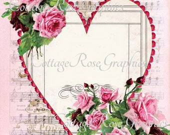 Large digital download ADD your own text Pink roses Heart frame image BUY 3 get one FREE