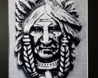 Wise Old Indian Matted Photograph 11 x 14