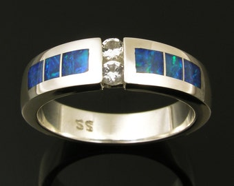 Opal Wedding Ring with White Sapphires in Sterling Silver, Australian Opal Wedding Band, Opal and Sapphire Wedding Ring