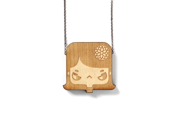 Wooden pendant Lily - laser engraved and cut - minimalist - cute - japanese - scandinavian - design - maple