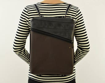 PC Backpack 14 inch//faux leather and bicycle rubber bag//Comunicareineco//Vegan Christmas//gift for her and for him//BeesBagL