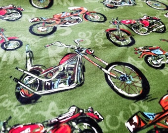 Motorcycle Flannel Fabric | Vintage Motorcycle Chopper Fabric  |  fabric by the yard | 1 yard