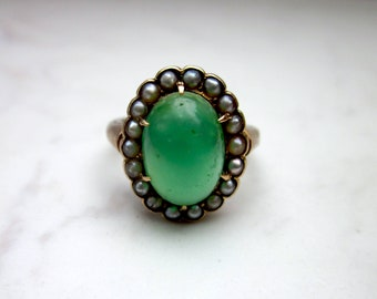 Antique Emerald and Seed Pearl Halo set in 14k Solid Yellow Gold Engagement Ring, Size 4