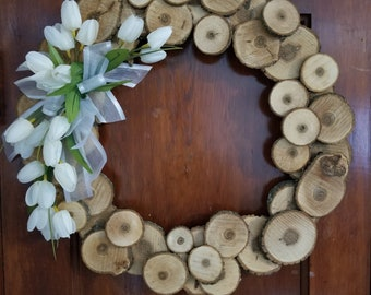 Large wood disk wreath