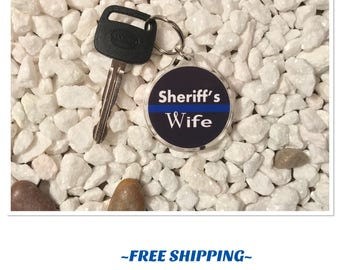 Sheriff's Wife Thin Blue Line Keychain with FREE SHIPPING
