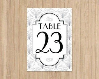 Instant Download - Art Deco Wedding - 5x7 Table Numbers in Black - The Charleston - Gatsby Wedding