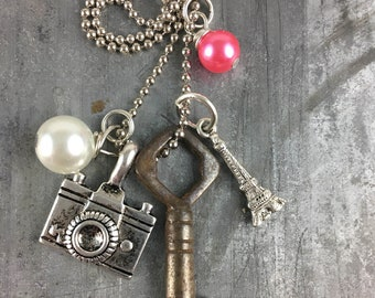 Skeleton Key Necklace with Eiffel Tower and Camera Charms