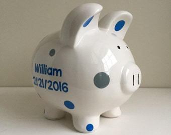 "Large 8"" Personalized Ceramic Piggy Bank - Baby Shower or Birthday Gift"