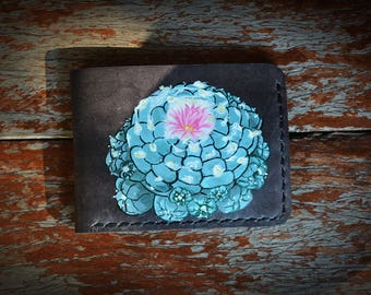 Cactus Wallet Leather Portefeuille cuir 4 Card Holder Wallets gift ideas for lover Lopho fricii Acrylic Art cactus&succulent Fever
