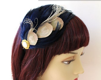 Navy Blue feather fascinator with Ivory peacock feathers - AGATHA design (5 fastener, and 8 color option) vintage derby headwear design