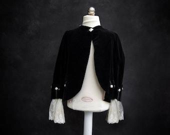 Vintage Girls Velvet Black Jacket with Lace Cuffs - size 6-8