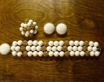 Vintage 1960's  Demi Parure  Bracelet, Brooch & Earring Set